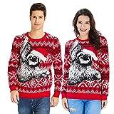 Goodstoworld 3D Pullover Faultier Sloth Ugly Christmas Sweater Damen Herren Hässliche Weihnachtspullover Unisex Strickpullover Neuheit Xmas Jumper (Textilien)
