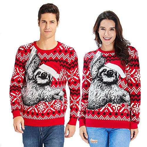 che Pullover Weihnachten faultier Damen Herren Sloth Ugly Christmas Sweater Neuheit Unisex Xmas Strickpullover Jumper ()