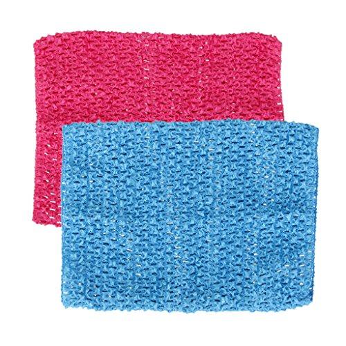 perfeclan 2 Stück Mädchen Tube-Top Strapless Top Bustier Elastische Band Stirnband Für Tutu Kleid Fotoshooting Kostüm (Rosa+ Blau)