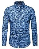 WHATLEES Herren Paisley Langarm Hemden - mit Stehkragen und durchgehendem Print BA0069-lightblue-L
