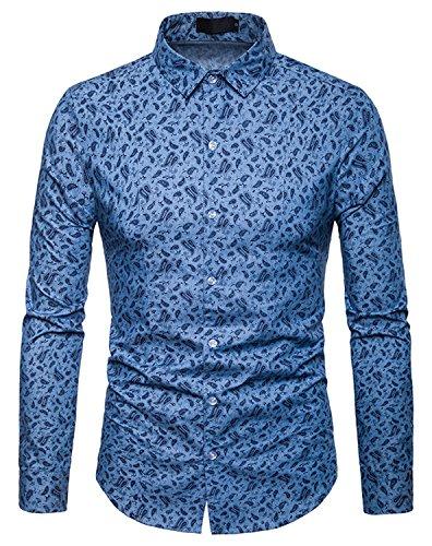 WHATLEES Herren Paisley Langarm Hemden - mit Stehkragen und durchgehendem Print BA0069-lightblue-L -