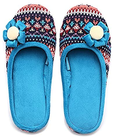 Unisexe Slip on Chaussons Happy Lily Envers antidérapant Mules en maille polaire Chaussures vintage Boho Style pour adulte, bleu
