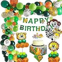 MMTX Selva Fiesta de cumpleaños decoracion Niño-Feliz cumpleaños feliz con Globos de latex y Safari Bosque Animal globos para Niño Cumpleaños Baby Shower Decoración