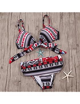 Traje de baño _ atadura pack duro pajarita moderna y cómoda correa de color degradado bikini bañador de cintura...