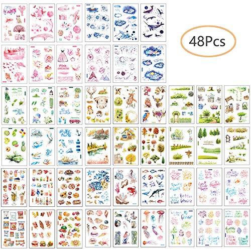 Ritte Sticker, 48 Blatt Scrapbooking Aufkleber Fotoalbum Dekoration Tagebuch Album Stick Label für Tagebuch Scrapbook Kalender Notizbuch Fotoalbum DIY Dekoration -