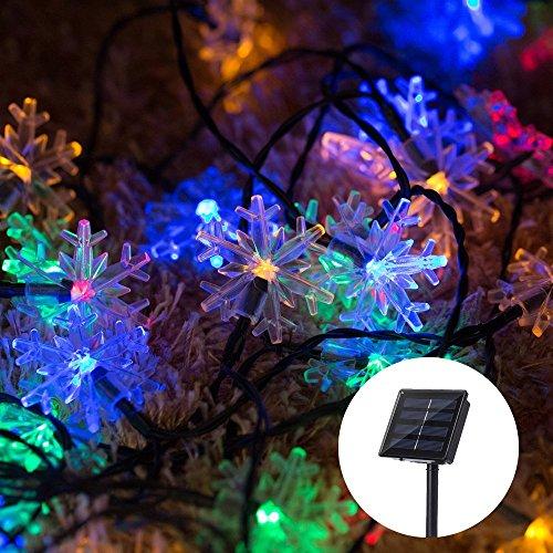 Sanva 6m led luce solare catena palla/lanterna/gocce/fiocchi di neve/campane/peluche palla giardino esterno illuminazione solare palla per party, natale, outdoor, fest deko, ecc schneeflocken bunt(30led)