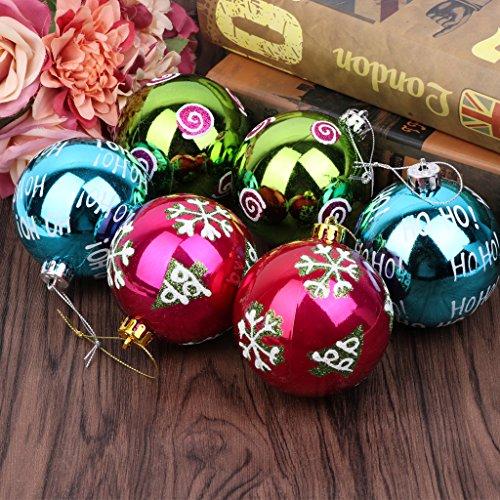 Uncles 6pcs set di palle di Natale, 8cm, glitter Metallic party festival di Natale, compleanno, infrangibili, decorazione da appendere, decorazione per la casa casa appartamento dormitorio soffitto