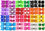 HOLLIHI 48 pcs/24 Pairs Adorable Grosgrain Ribbon Pet Dog Hair Bows with Elastic Rubber Bands - Doggy Kitty Bowknots Topknot Grooming Accessories Set for Long Hair Puppy Cat