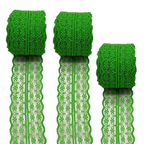3Rollen 10Meter Floral Spitze Band Stretch Lace Trim Elastic Gurtband Stoff für selbstgemachten Schmuck Craft Hochzeit Zubehör Geschenkverpackungen, grün, 45mm x10m -