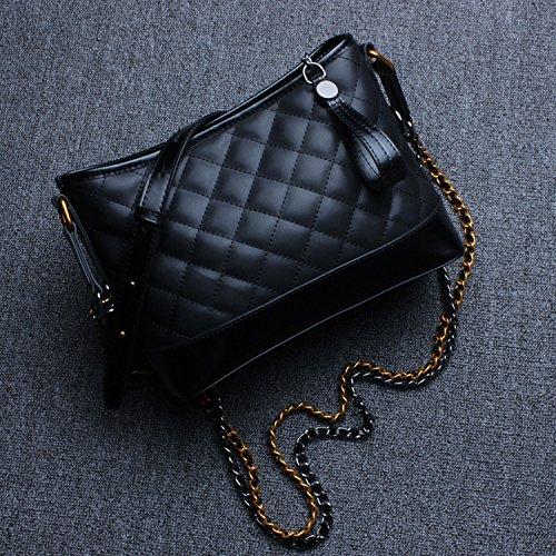 Damen-Tasche Doppel-Kette Lingge Messenger Tasche Mode-Paket Kampf Farbe Wandern Paket Schwarz