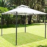 BAKAJI Gartenpavillon 3x 3mt Struktur aus Metall mit Abdeckplane 180gr/qm Regenschutz Farbe Weiß.