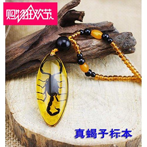 Generic Echt Scorpion Insekten Exemplare Bernstein Halskette Anhänger Evil Herren Frauen kreative Persönlichkeit Herbst Winter Pullover Kette