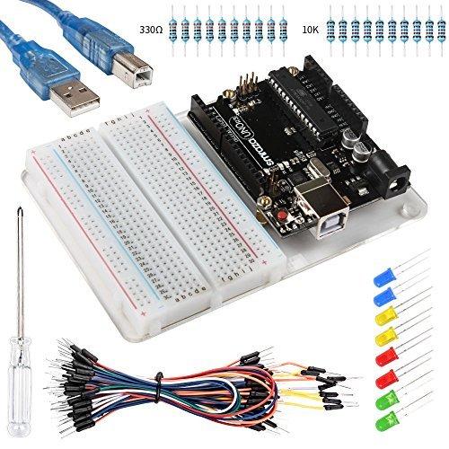 Smraza Uno R3 Board pour Arduino Starter Kit avec Breadboard 400 Points, Jumper Wire, USB Câble, LED Lumière et Base Plate Acrylique Compatible avec Arduino Mega kit de Demarrage