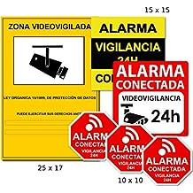 AAPC -Pack 6 vinilos disuasorios Zona Videovigilada CCTV LOPD Alarma Conectada Videovigilancia 24H pegatinas autoadhesivas