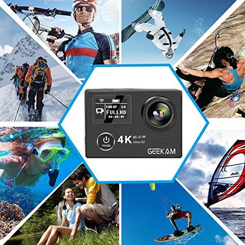 Cámara Deportiva GeeKam 4K WIFI Ultra HD Cámara de Acción Sumergible Impermeable 40M camera acuatica 1080P Amplio Ángulo de Visión 170° Videocámara Control Remoto con 2 1050mAh Baterías Recargables y Accesorios Útiles Negro