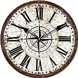 """Orologio da parete stile vintage """"Rosa dei venti"""", in legno, cm 34"""