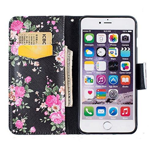 SKYXD für iphone 6 Plus / 6S Plus Hülle Leder Leopard Muster Folio Klappbar Handy Tasche Schutzhülle [Magnet / Brieftasche Kartenfach / Standfunktion] Klapphülle mit [Handyanhänger + Eingabestift] Zub Design 09