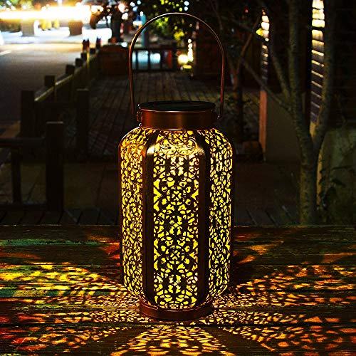 Solar laterne Gartenlicht Outdoor Solarleuchten Garten Deko solarlampen für außen Terrasse Dekorative Metall Kunst Garten Zubehör Outdoor Dekorationen für Veranda Pathway und Hof Weihnachten (Gold 2)