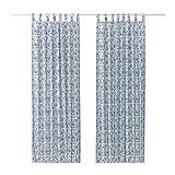 IKEA Gardinen Paar MJÖLKÖRT blau-weiß blickdicht Schlaufengardinen