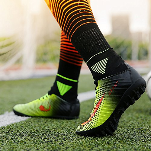 ASHION Kinder Fußball Stiefel Microfaser Cleats Teenager Training Schuh Grün