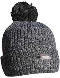 Thinsulate Women's Thermal MARL Knit Chunky Winter Bobble Hat