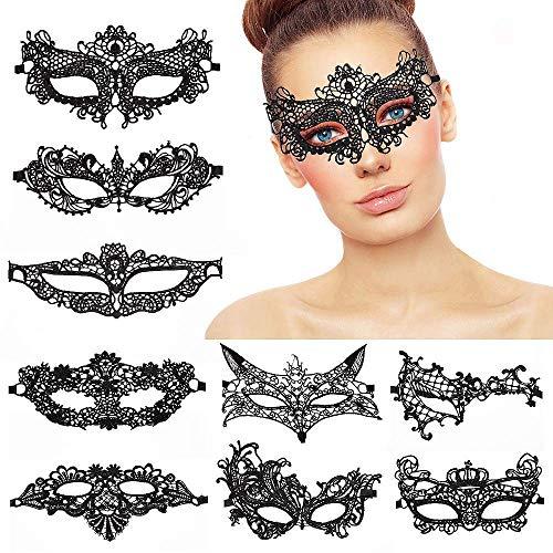 ,9er Pack Lace Masquerade Masks Damen Frauen Mädchen Maskenspiel Venetian Gesichtsmaske für Weihnachten Party Maskenball Halloween Schwarz ()