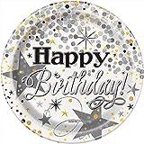 Unique Party 58274Folie glitzerndem Geburtstag Papier Teller (8Stück)