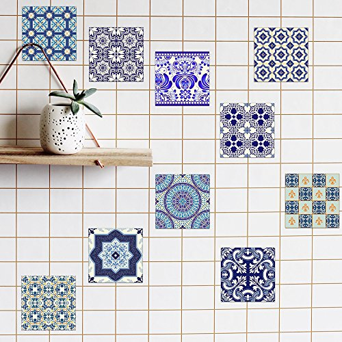 10 Pack Various Traditional Wall Tile Stickers 7.87x7.87inch, Emwel Vinyl Decal Self-adhesive Wall Square Tiles Portuguese Sticker for Kitchen Bathroom Home Decor – Oil-proof, Waterproof