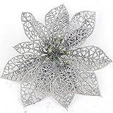Futaba Christmas Flowers Xmas Tree Decorations Wedding Party Decor Ornaments-Silver