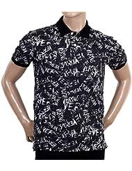 Negro Graffiti impreso camisa polo de Versace vers5450