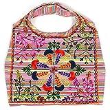 HAB & GUT -IB002A- INDIRA, Indische Damentasche, Schulterbeutel, Strandtasche, Tote bag, Streifen...