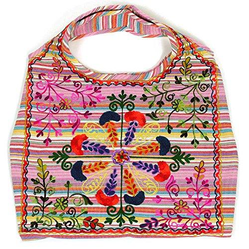 HAB & GUT (IB002A) INDIRA, Indische Damentasche, Schulterbeutel, Strandtasche, Tote bag aus 100 % Baumwolle, STREIFEN PASTELLTÖNE ROSA MIT BUNTER STICKEREI (Bag 100% Baumwolle Tote)