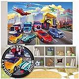GREAT ART XXL Poster Kinderzimmer - Autorennen - Wandbild Dekoration Flugzeug Cars Abenteuer Feuerwehr Sportwagen Auto Cabrio Comic Wandposter Fotoposter Wanddeko Bild (140 x 100 cm)