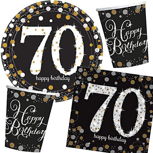 57-teiliges Party-Set * Zahl 70 - Glitzerndes Happy Birthday * zum 70. Geburtstag mit Teller + Becher + Servietten + Luftballons | Glitzer-Tischgeschirr in Gold - Silber - Schwarz | Senioren Party (Geburtstag Teller 70.)