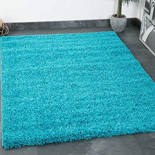VIMODA Prime Shaggy Teppich Farbe Türkis Hochflor Langflor Teppiche Modern für Wohnzimmer Schlafzimmer 70x140 cm