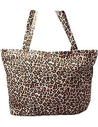 Accessoryo - estampado de leopardo marrón bolsa de la playa del verano de las mujeres