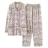 Pigiama pigiameria per uomo a maniche lunghe da uomo in morbido cotone invernale termico intimo per la casa M-XXXXL , gold , m
