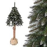 FairyTrees Weihnachtsbaum künstlich im Topf FICHTE NATURSTAMM, Weiss beschneit, Material PVC, Baumstamm aus echtem Holz, 150cm