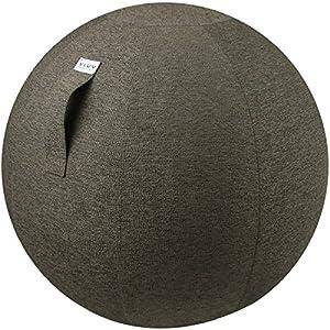 VLUV STOV Stoff-Sitzball, ergonomisches Sitzmöbel für Büro und Zuhause, Farbe: Anthrazit (dunkelgrau), Ø 60cm – 65cm, hochwertiger Möbelbezugsstoff, robust und formstabil, mit Tragegriff