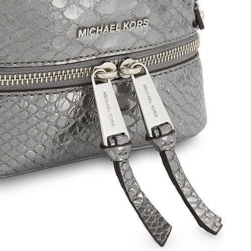 MICHAEL by Michael Kors Rhea Zaino in Pelle Nero Extra Small Donna Pewter