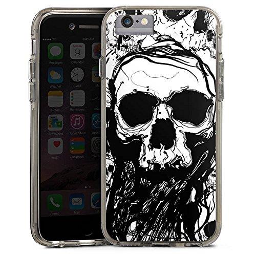 Apple iPhone X Bumper Hülle Bumper Case Glitzer Hülle Totenkopf Skull Halloween Bumper Case transparent grau