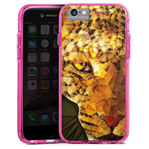 Apple iPhone 7 Plus Bumper Hülle Bumper Case Glitzer Hülle Tiger Raubkatze Pattern Bumper Case transparent pink