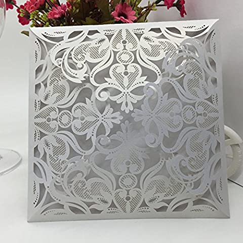 Anself 10Pcs Romantic Party Wedding Invitation Card Envelope Delicate Carved Pattern