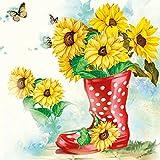 Ambiente Papierservietten - Servietten Lunch / Party 33x33cm Sunflowers - Sonnenblumen - Ideal Als Geschenk- Deko