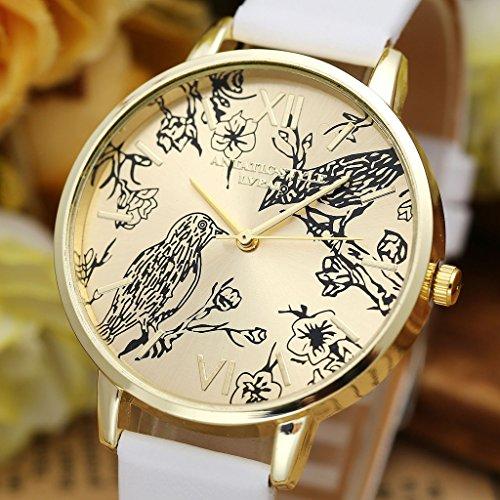 JSDDE Vintage Blumen Vogel Armbanduhr Basel-Stil Weiß Quarz Uhr + Traumfänger Anhänger Armband Halskette Geschenk Set - 4