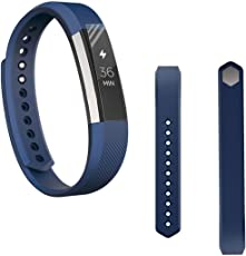 Voberry Replacet Wrist Band Silicone Strap Clasp+Protector Film for Fitbit Alta Hr 38mm Dark Blue