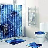 SLGJYY Duschvorhang Badezimmer Matte Kombination Vierteiliger Anzug Bad WC Teppich Duschraum Matte Matte