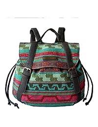 BYD - Mujeres Bolsos mochila Bag Colorful Printed Flower School Bag Bolsa de viaje Vintage Style