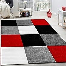 Alfombra Moderna Salón Velour Corto Cuadros Diseño Rojo Negro Gris LIQUIDACIÓN, tamaño:160x230 cm