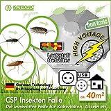 ISOTRONIC Insektenfalle mit Hochspannung gegen Silberfische, Schaben, Kakerlaken und Kellerasseln, zuverlässiger Insektenschutz für bis zu 40 m², gift- und chemiefrei, ohne Bohren